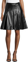 Versace Flare Leather Skirt, Black