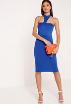Missguided Jersey Halter Neck Bodycon Midi Dress Blue