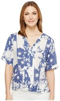 Calvin Klein Jeans Printed Lace Inset Blouse Women's Blouse