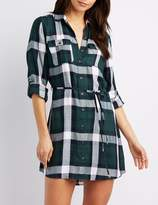 Charlotte Russe Plaid Button-Up Shirt Dress