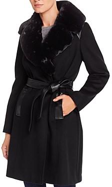 Via Spiga Belted Faux Fur-Collar Wool-Blend Coat