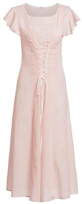 Marysia Swim Shelter Lace-Up Flutter Sleeve A-Line Dress