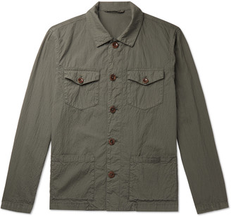 Altea Stretch Cotton And Linen-Blend Seersucker Overshirt