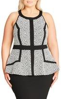 City Chic Plus Size Women's Geo Peplum Dress