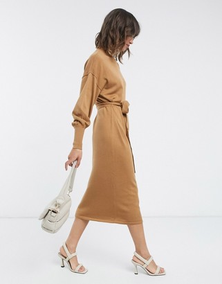 Vero Moda midi dress with high neck and tie waist in camel