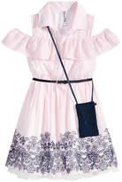 Beautees Cold Shoulder Shirt Dress & Purse Set, Big Girls