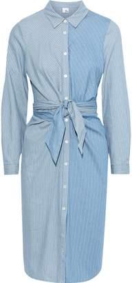 Iris & Ink Gull Tie-front Paneled Striped Cotton Shirt Dress