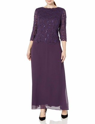Alex Evenings Women's Plus-Size Long Mock Dress with Sequin Lace Bodice