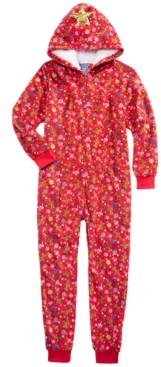Max & Olivia Big Girls 1-Pc. Hooded Holiday-Print Pajamas, Created for Macy's