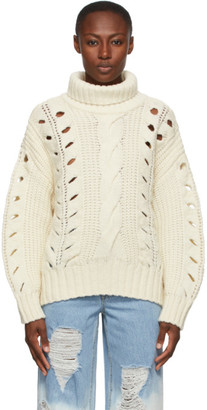 Sjyp Off-White Cable Knit Turtleneck