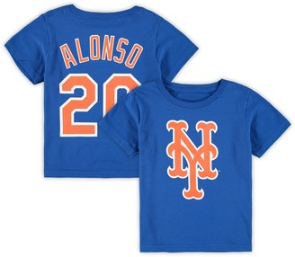 Majestic Toddler Pete Alonso Royal New York Mets Player Cap Logo Name & Number T-Shirt