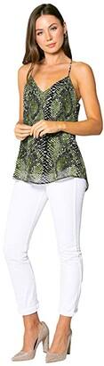 Lavender Brown Olive Snake Printed Cami with Adjustable Strap (Olive/Black) Women's Clothing