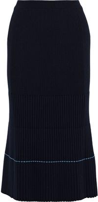 Victoria Beckham Ribbed Wool-blend Midi Skirt