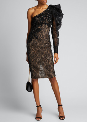 Pamella Roland One-Shoulder Lace Cocktail Dress