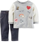 Carter's 2-Pc. Patches Top & Jeggings Set, Baby Girls (0-24 months)