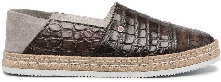 Kiton Collapsible-Heel Crocodile Effect Espadrilles