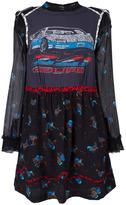 Coach car print layered dress - women - Silk/Leather/Viscose - 8