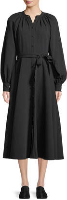Co Long-Sleeve Button-Down Belted A-Line Cotton-Linen Dress
