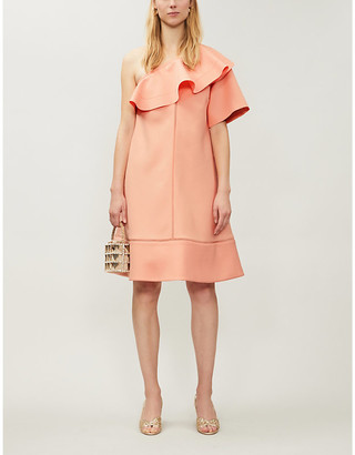 Selfridges Chloe asymmetric-neckline woven midi dress