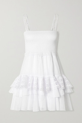 Charo Ruiz Ibiza Celina Crochet-trimmed Ruffled Cotton-blend Voile Mini Dress - White