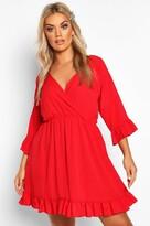 boohoo Plus Ruffle Sleeve Wrap Front Skater Dress
