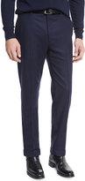 Ralph Lauren Flat-Front Flannel Trousers, Navy