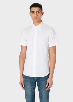 Paul Smith Men's Tailored-Fit White Short-Sleeve Shirt With Pink Top Button