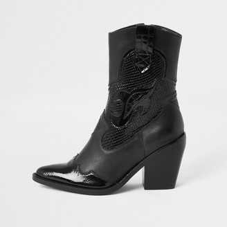 River Island Womens Black leather cutout cowboy ankle boots