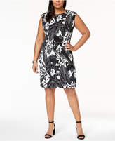 Connected Plus Size Ruched Cap-Sleeve Dress