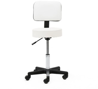 Overstock Round Shape Plastic Adjustable Salon Stool with Back White with Wheels