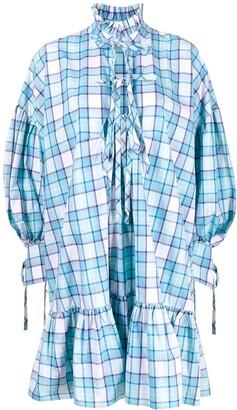 MSGM Check Print Shirt Dress