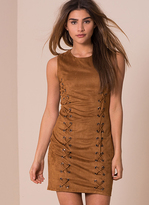 Missy Empire Avril Tan Suede Eyelet Detail Bodycon Dress