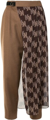 Kolor Logo-Print Panel Cropped Trousers