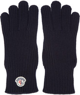 Moncler Navy Wool Gloves