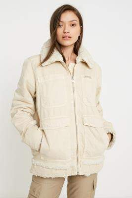 BDG Bonded Denim and Borg Coat - beige S at Urban Outfitters
