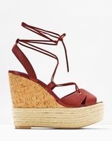 White House Black Market Lace-Up Cork Wedge Sandals
