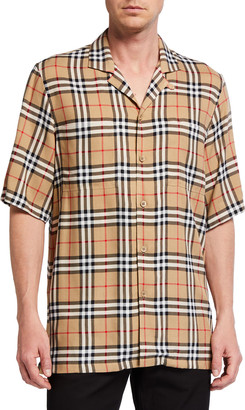 Burberry Men's Vintage Check Short-Sleeve Shirt