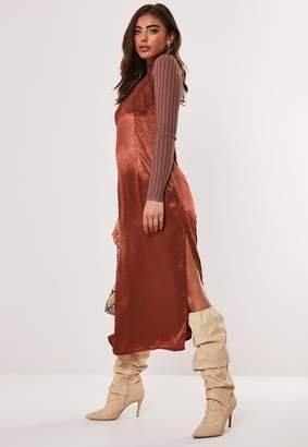 Missguided Rust Satin Lace Slip Midi Dress