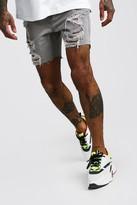 boohoo Mens Grey Slim Fit All Over Rip Denim Shorts, Grey