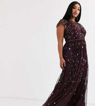 Asos DESIGN Curve pretty embroidered floral and sequin mesh maxi dress