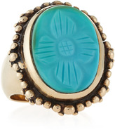 Stephen Dweck Carved Oval Turquoise Ring