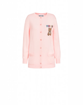 Moschino Teddy Embroidery Wool Cardigan Woman Pink Size 38 It - (4 Us)