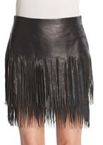 BLK DNM Leather & Suede Fringe Skirt