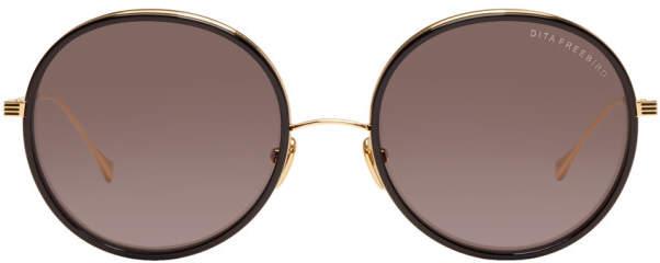 Dita Black and Gold Freebird Sunglasses