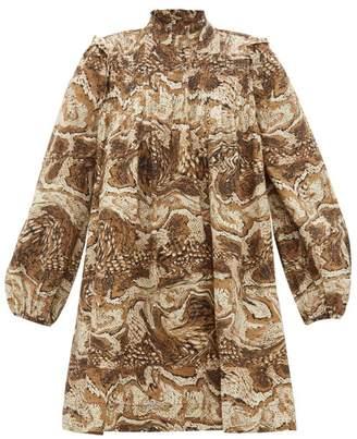 Ganni High Neck Tigers Eye Print Mini Smock Dress - Womens - Beige