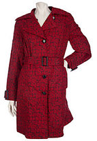 As Is Dennis Basso Crinkle Logo Printed Trench Coat