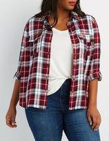 Charlotte Russe Plus Size Plaid Button-Up Pocket Shirt