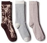 Merona Women's Crew Socks 3-Pack Oatmeal Forest Critters One Size