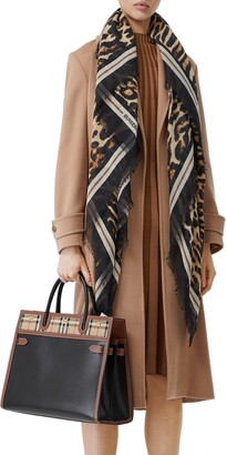 Burberry Monogram Leopard Print Wool & Silk Scarf