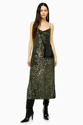 Topshop Womens Khaki Sequin Midi Dress - Khaki